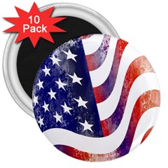 Usa Flag America American 3  Magnets (10 Pack)  by Celenk