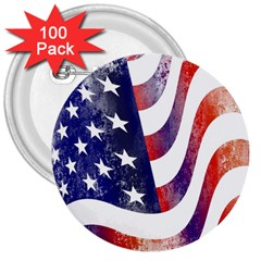 Usa Flag America American 3  Buttons (100 Pack)  by Celenk
