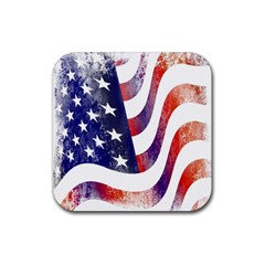 Usa Flag America American Rubber Square Coaster (4 Pack)  by Celenk