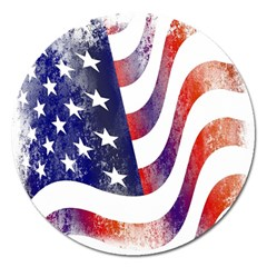 Usa Flag America American Magnet 5  (round) by Celenk