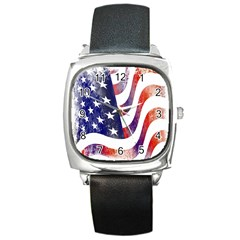 Usa Flag America American Square Metal Watch by Celenk