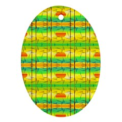 Birds Beach Sun Abstract Pattern Ornament (oval) by Celenk