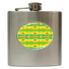 Birds Beach Sun Abstract Pattern Hip Flask (6 Oz) by Celenk