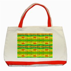 Birds Beach Sun Abstract Pattern Classic Tote Bag (red)