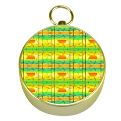Birds Beach Sun Abstract Pattern Gold Compasses by Celenk