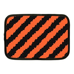 Black Orange Pattern Netbook Case (medium)  by Celenk