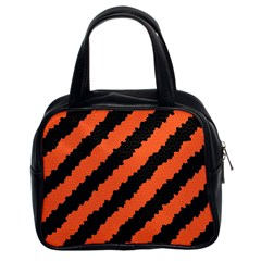 Black Orange Pattern Classic Handbags (2 Sides)