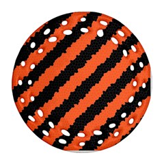 Black Orange Pattern Round Filigree Ornament (two Sides) by Celenk