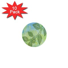 Green Leaves Background Scrapbook 1  Mini Buttons (10 Pack)  by Celenk