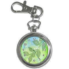 Green Leaves Background Scrapbook Key Chain Watches by Celenk