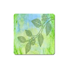 Green Leaves Background Scrapbook Square Magnet