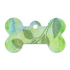 Green Leaves Background Scrapbook Dog Tag Bone (two Sides)