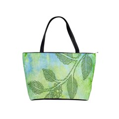 Green Leaves Background Scrapbook Shoulder Handbags