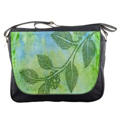 Green Leaves Background Scrapbook Messenger Bags by Celenk