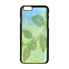 Green Leaves Background Scrapbook Apple Iphone 6/6s Black Enamel Case