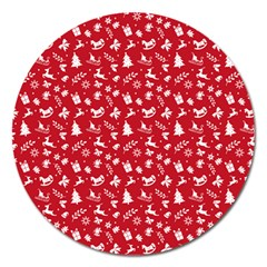 Red Christmas Pattern Magnet 5  (round) by patternstudio