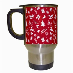 Red Christmas Pattern Travel Mugs (white) by patternstudio
