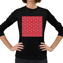 Red Christmas Pattern Women s Long Sleeve Dark T Shirts by patternstudio