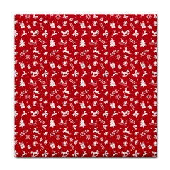 Red Christmas Pattern Face Towel by patternstudio
