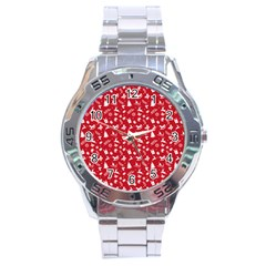 Red Christmas Pattern Stainless Steel Analogue Watch by patternstudio