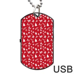Red Christmas Pattern Dog Tag Usb Flash (two Sides) by patternstudio