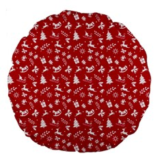 Red Christmas Pattern Large 18  Premium Round Cushions by patternstudio
