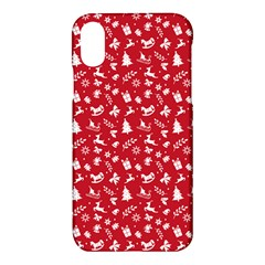 Red Christmas Pattern Apple Iphone X Hardshell Case by patternstudio