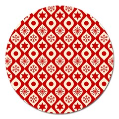 Ornate Christmas Decor Pattern Magnet 5  (round) by patternstudio