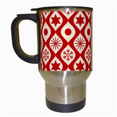Ornate Christmas Decor Pattern Travel Mugs (white) by patternstudio