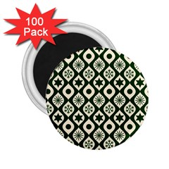 Green Ornate Christmas Pattern 2 25  Magnets (100 Pack)  by patternstudio