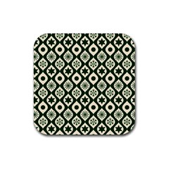 Green Ornate Christmas Pattern Rubber Square Coaster (4 Pack)  by patternstudio