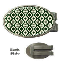 Green Ornate Christmas Pattern Money Clips (oval)