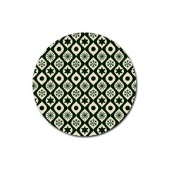 Green Ornate Christmas Pattern Rubber Coaster (round)  by patternstudio