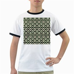 Green Ornate Christmas Pattern Ringer T Shirts