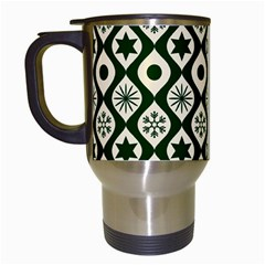 Green Ornate Christmas Pattern Travel Mugs (white) by patternstudio