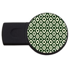Green Ornate Christmas Pattern Usb Flash Drive Round (4 Gb)