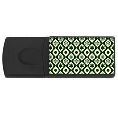 Green Ornate Christmas Pattern Rectangular Usb Flash Drive by patternstudio