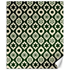 Green Ornate Christmas Pattern Canvas 8  X 10  by patternstudio