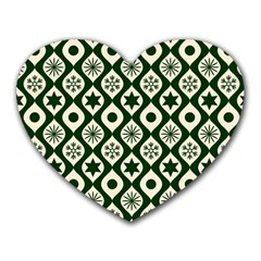 Green Ornate Christmas Pattern Heart Mousepads by patternstudio