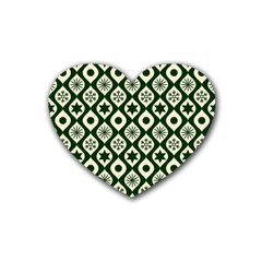 Green Ornate Christmas Pattern Rubber Coaster (heart)  by patternstudio