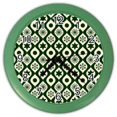 Green Ornate Christmas Pattern Color Wall Clocks