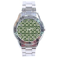 Green Ornate Christmas Pattern Stainless Steel Analogue Watch by patternstudio