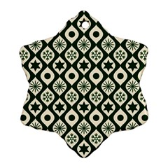 Green Ornate Christmas Pattern Snowflake Ornament (two Sides) by patternstudio
