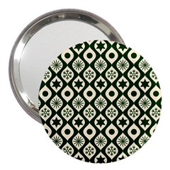 Green Ornate Christmas Pattern 3  Handbag Mirrors by patternstudio