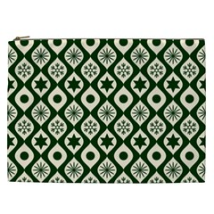 Green Ornate Christmas Pattern Cosmetic Bag (xxl)  by patternstudio