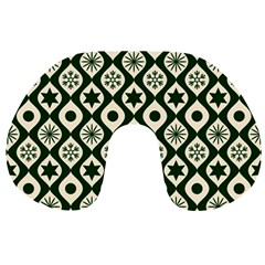 Green Ornate Christmas Pattern Travel Neck Pillows by patternstudio