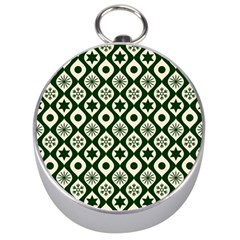 Green Ornate Christmas Pattern Silver Compasses by patternstudio