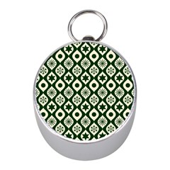 Green Ornate Christmas Pattern Mini Silver Compasses