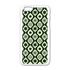 Green Ornate Christmas Pattern Apple Iphone 6/6s White Enamel Case by patternstudio