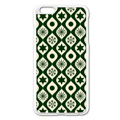 Green Ornate Christmas Pattern Apple Iphone 6 Plus/6s Plus Enamel White Case by patternstudio
